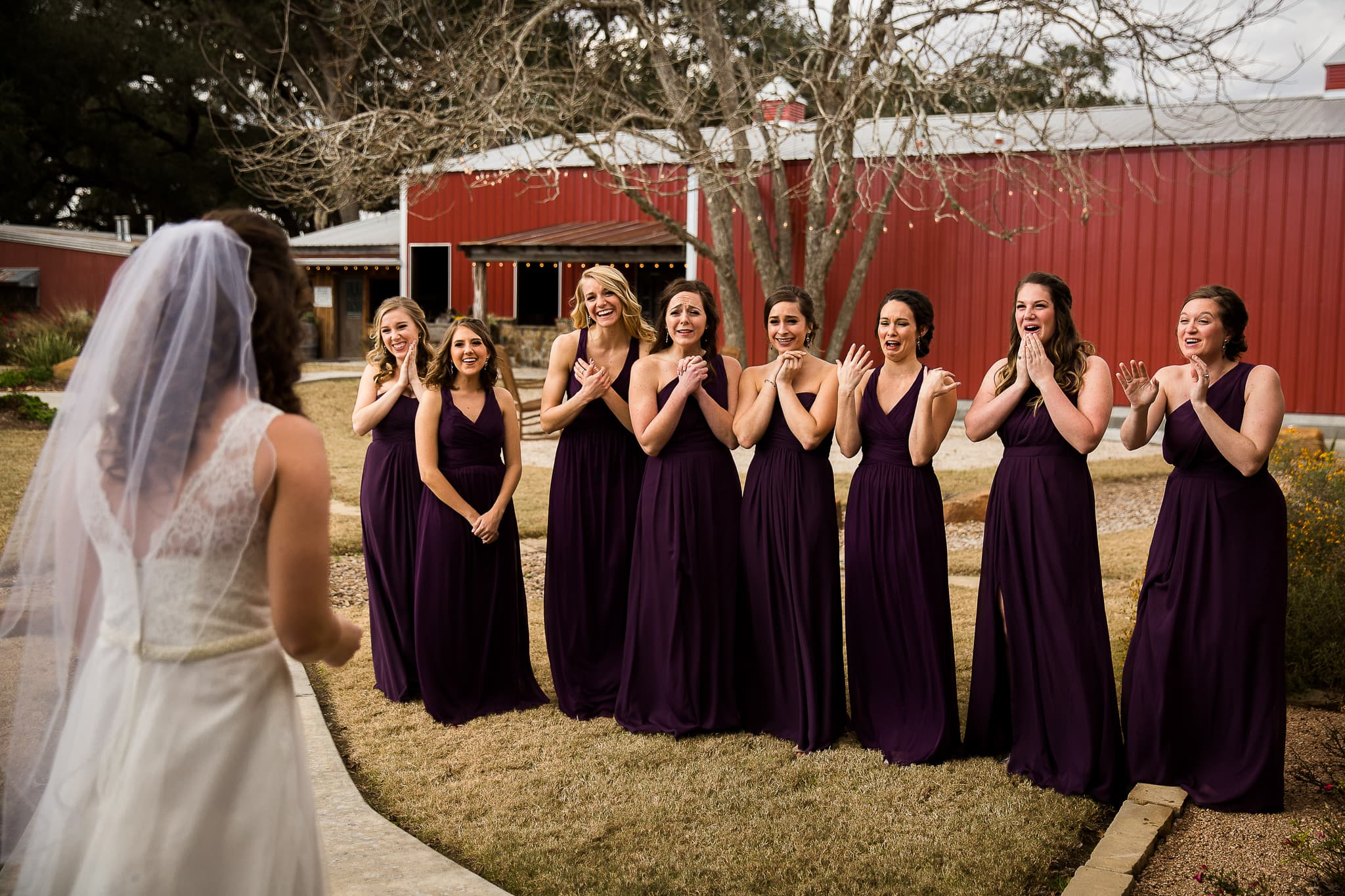 best austin wedding photographer john winters photography bridesmaids react to bride in dress