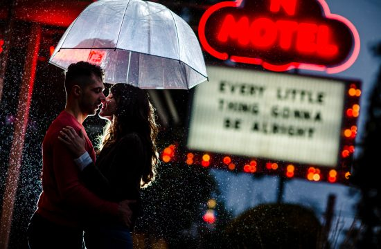 red bud isle south congress engagement photo session night photos rain