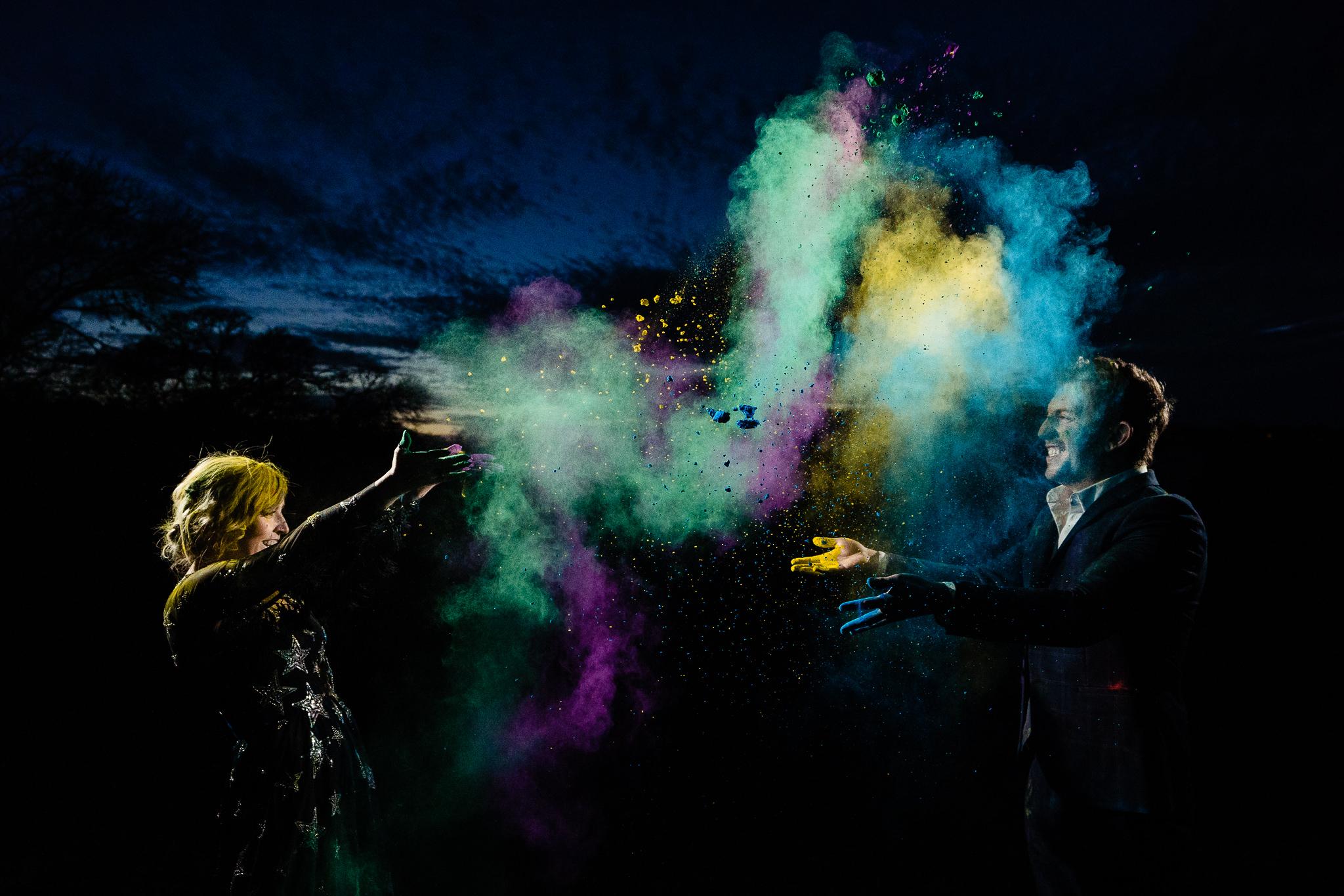 best austin wedding photographer john winters photography holi powder engagement session night photographer